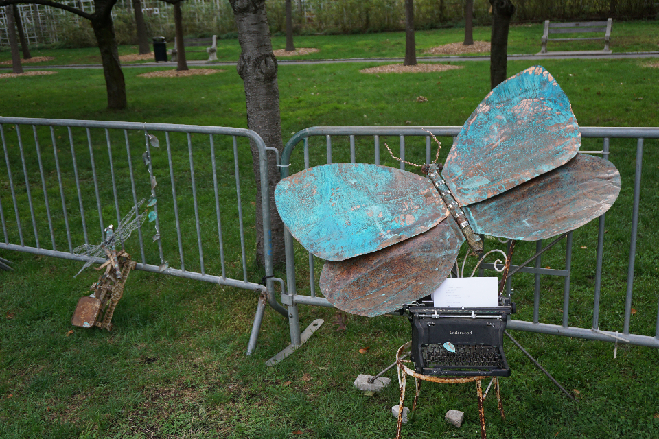 Blue Butterfly, Copper, Steel, Approx. 4 x 5 ft, BBG Installation, 2014